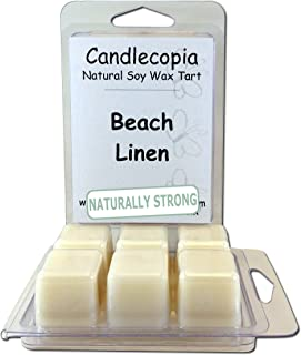 Candlecopia Beach Linen Strongly Scented Hand Poured Vegan Wax Melts, 12 Scented Wax..