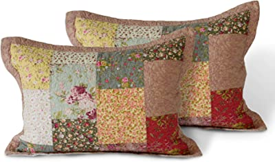 Amazon Com Kasentex Supreme Boho Cotton Sham With Decorative Floral Print Patchwork Design Two Standard Shams 20x26 Boho Royal Garden Home Kitchen