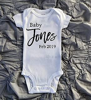 Baby Onesie Announcement   Baby Announcement Onesie  Personalized Last Name Baby Onesie  Pregnancy Announcement Onesie   Pregnancy Reveal