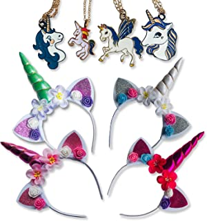 Unicorn Birthday Party Supplies Headband Necklace 8-Pack Exclusive Lightning Deal Costume Dress Up for Girls