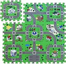 Foam Play Mat Road Toy Playroom Playmat Interlocking Floor Puzzle Road Mat Interactive Play Set (9 Piece Set)