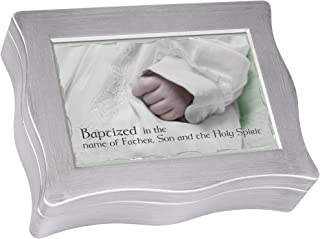 Cottage Garden Baptism Baptized in The Name Brushed Silvertone Jewelry Music Box Plays Baby Mine