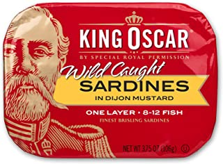 King Oscar Wild Caught Sardines in Mustard, 3.75 Ounce (Pack of 12)