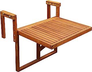 INTERBUILD Stockholm Balcony Folding Deck Table, Adjustable, FSC Acacia Wood, Golden Teak Color, 24 x 18 Inches
