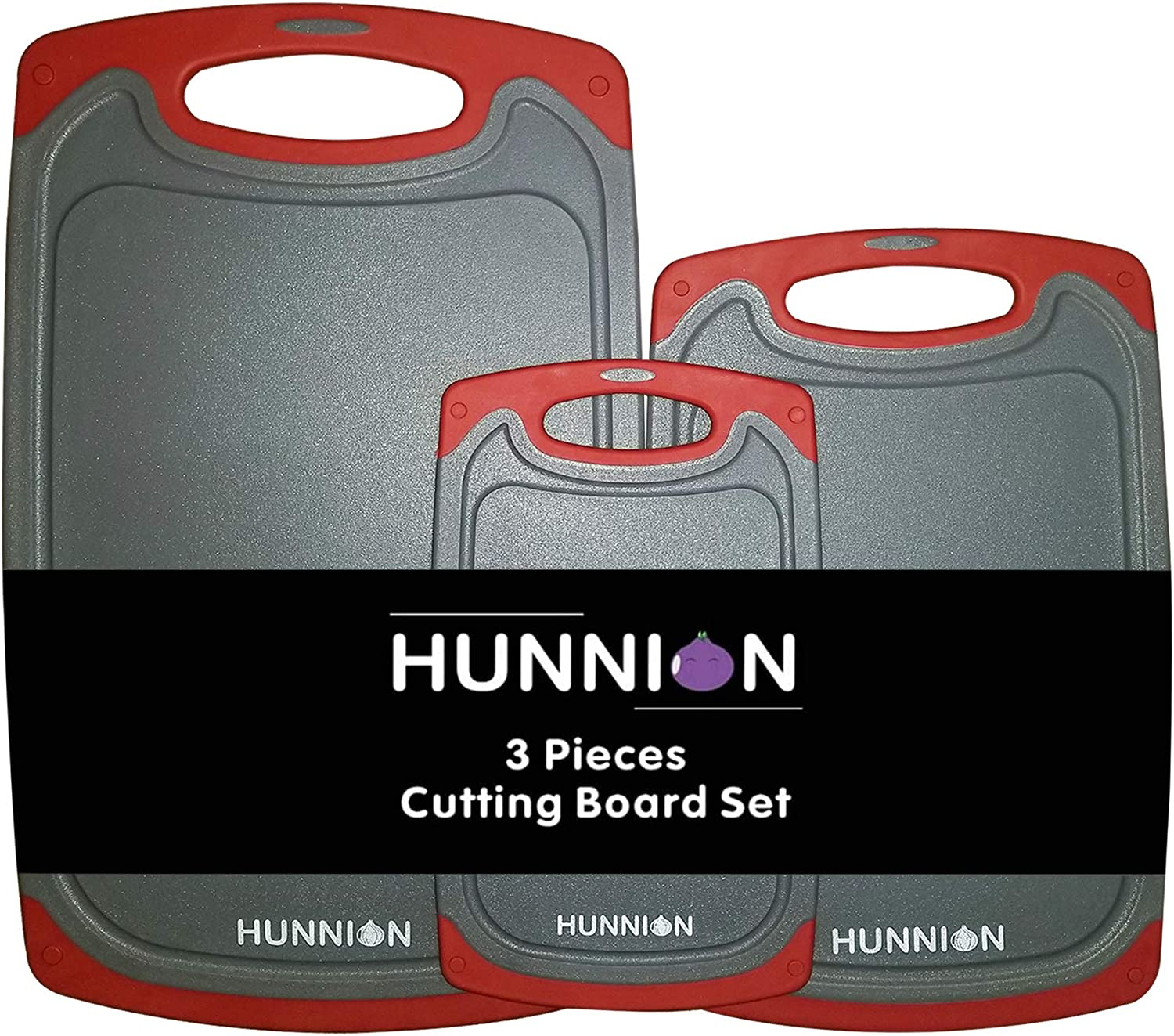HUNNION Kitchen Cutting Board 3 Piece with Juice Grooves Set E specialty Ranking TOP12 shop :