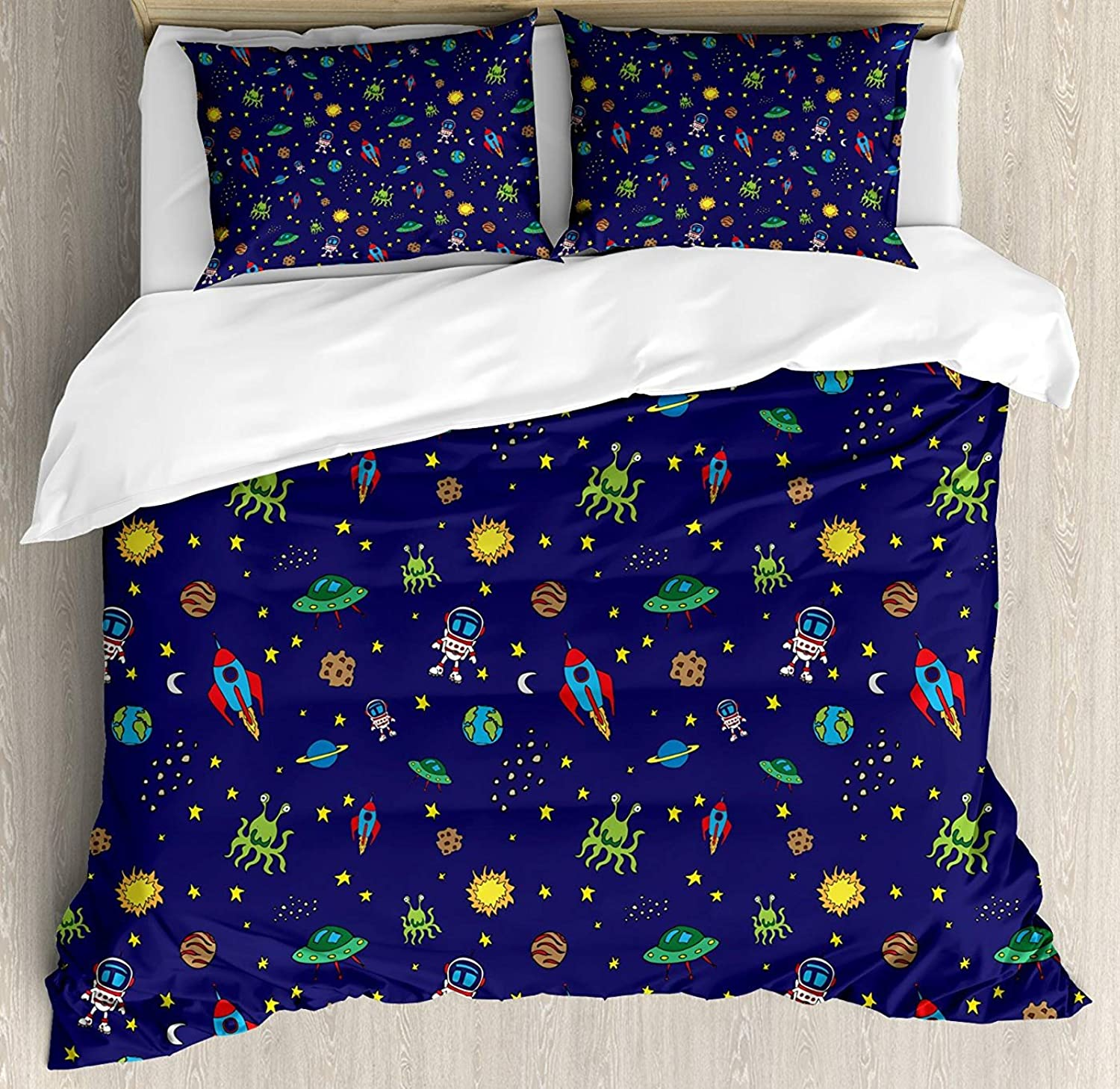 Space Duvet Cover Set Full Size, Doodle Style Cartoon Rocket Astronaut and UFO Alien Life Forms Earth Heavenly Bodies,Lightweight Microfiber Duvet Cover Sets, Multicolor