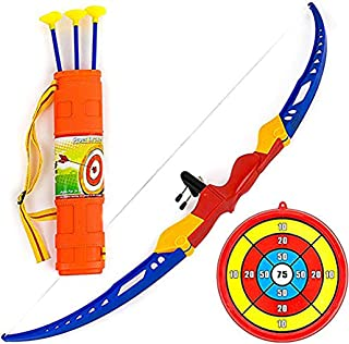 Toysery Bow and Arrow for Kids - 13-inch Archery Bow with 3 Suction Cups Arrows, Target, and Quiver - Practice Outdoor Toys for Children Above 3 Years of Age