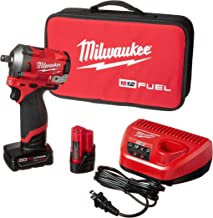 Milwaukee 2555-22 M12 FUEL 12-Volt Lithium-Ion Brushless Cordless Stubby 1/2 in. Impact Wrench Kit with One 4.0 and One 2....