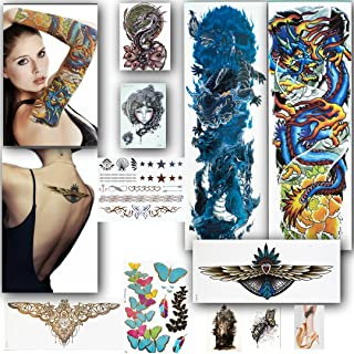LuneSong Large Temporary Tattoos - Series # 2-10 Temporary Tattoo Sheets - Large Full Arm Sleeve Tattoo-Metallic & Realistic - For Women, For Men & For Kids (Series 2)