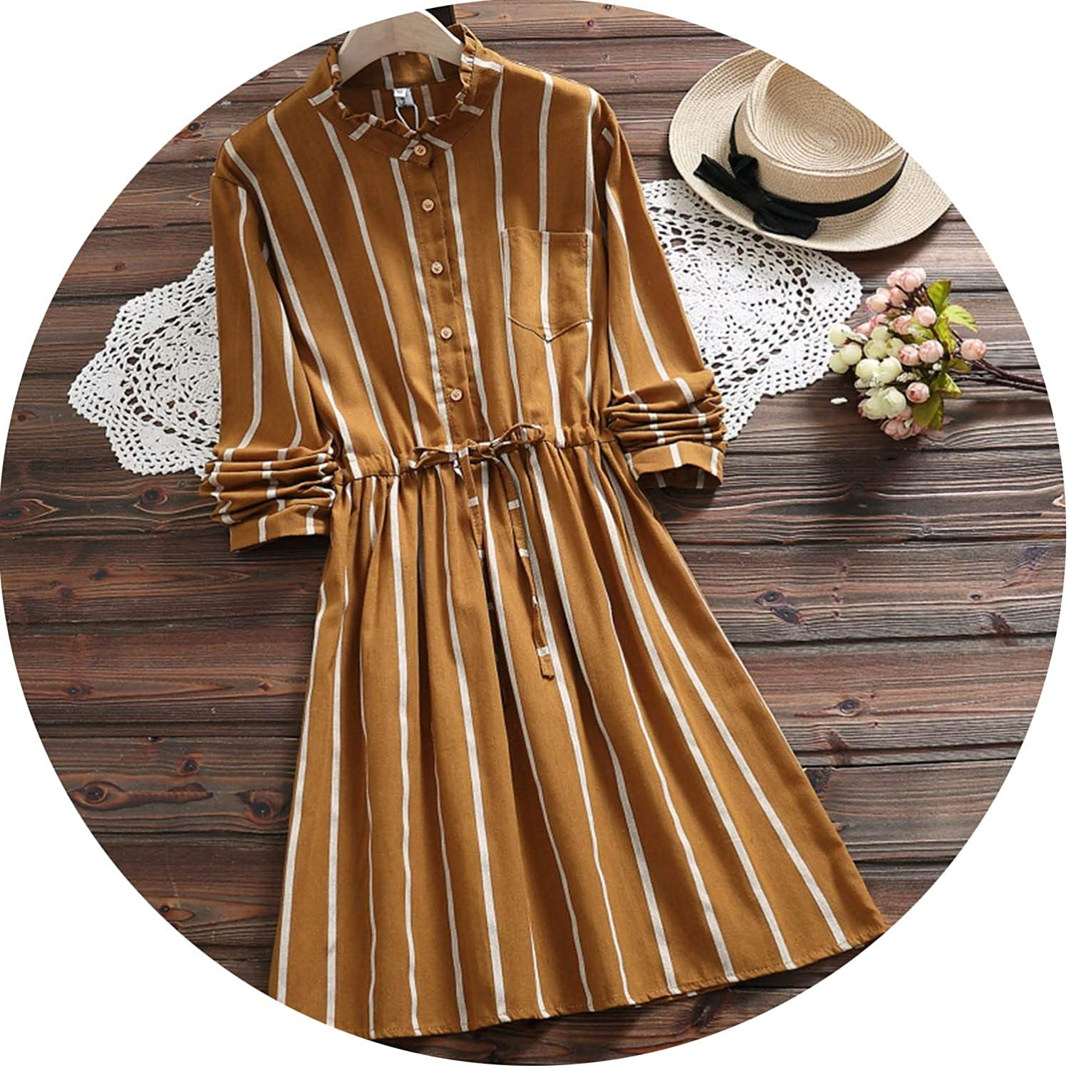 Women's Elegent Aline Dress Vintage Striped Party Vestidos Long Sleeve Dress