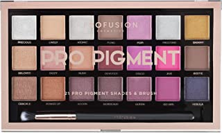 Profusion Cosmetics 21 Shade Eyeshadow Palette Collection & Brush, Pro Pigments