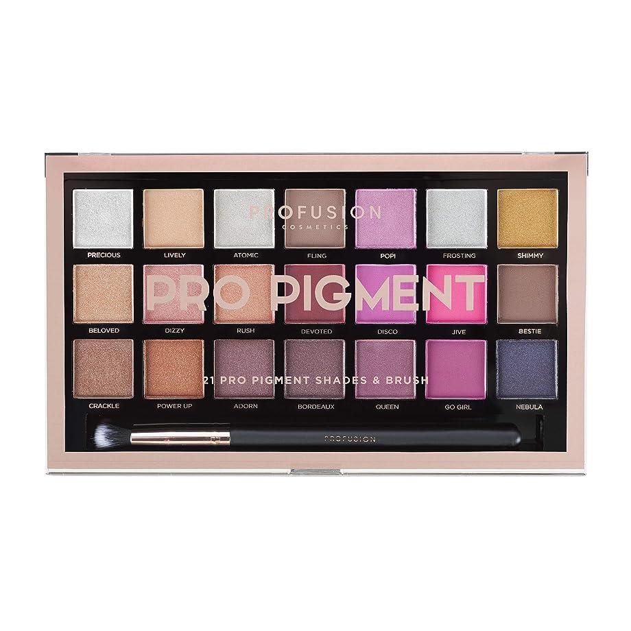 皮肉なチャーターラッドヤードキップリングProfusion Cosmetics 21シェードアイシャドーパレットコレクション&ブラシ, Pro Pigments