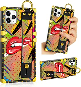 LSL iPhone 11 Pro Max Case, Red Lips Bite Upgraded Wrist Strap Band Kickstand Square Full Body TPU Bumper Shockproof Protective Phone Case for iPhone 11 Pro Max 6.5 Inch 2019