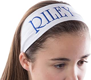 Personalized CUSTOM Cotton Stretch Headband Embroidered With YOUR TEXT- 2.5 Inch (Hot Pink Headband)