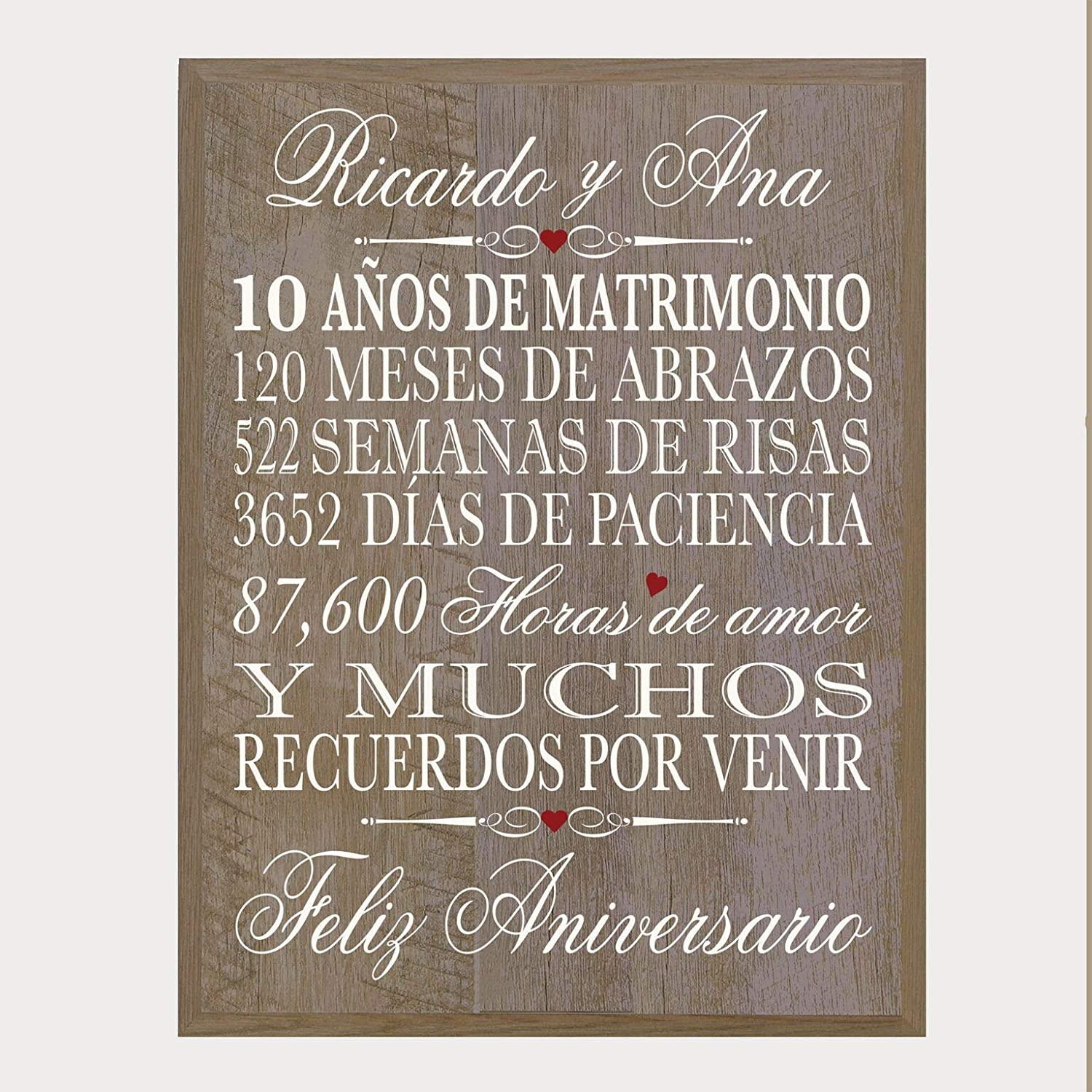 """Barnwood LifeSong Milestones Personalized Spanish 50th Wedding Anniversary Wall Plaque Gift for her Couples 12/"""" x 15/"""" Husband Wife him"""