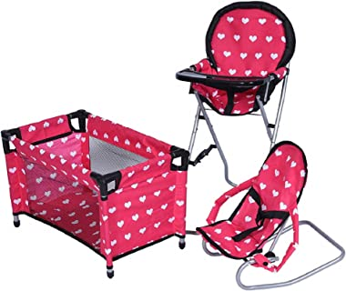 New York Doll Collection Dolls Mega Play set with Dolls High Chair, 3-1 Doll Bouncer and Pack N Play Red-color for 18-inch Do