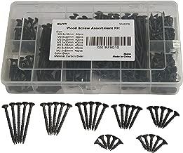 IEUYO Drywall Sheetrock Screw Wood Screw Assortment Kit, Bugle Head, Phillips Drive, Black Oxide Finish, for Drywall, Wood, (#6) M3.5x16/20/25/30/35/40/50, 300 PCS/7Sizes