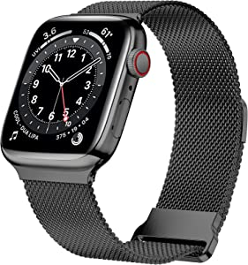 JuQBanke Magnetic Band Compatible with Apple Watch 42mm 44mm, Stainless Steel Mesh Milanese Strap with Adjustable Loop, Metal Wristband for iWatch SE Series 6 5 4 3 2 1 for Women Men, Black