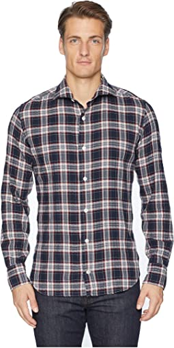 Check Spread Collar Brushed Flannel Shirt