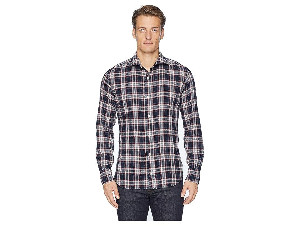 eleventy Check Spread Collar Brushed Flannel Shirt (Navy) Men