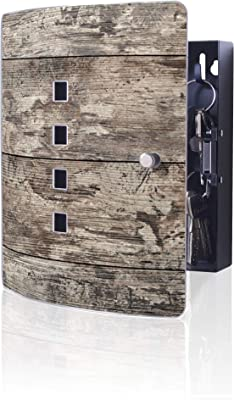 praktischer Magnetverschluss 10 Haken f/ür Schl/üssel banjado Design Schl/üsselkasten aus Edelstahl 24x21,5cm Motiv Rote Holzlatten