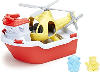 Green Toys RBH1-1155 Rescue Boat with Helicopter Water Play, 4 Piece Set