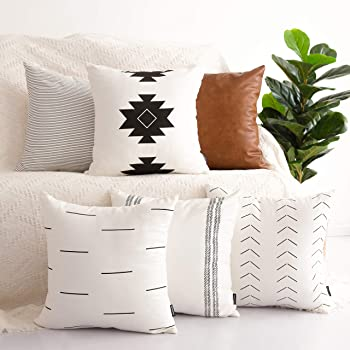 HOMFINER Decorative Throw Pillow Covers for Couch, Set of 11, 11% Cotton  Modern Design Stripes Geometric Bed or Sofa Pillows Case Faux Leather 11 x  11