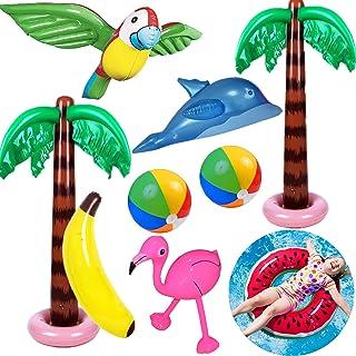 Yetech 9PCS Inflables Palmeras Flamingo Juguetes,Pelotas de Playa de plátano Dolphin Parrot,90CM Flotador Inflable de Pisc...