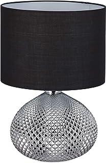 Relaxdays Lámpara de mesilla de noche, Moderna, Elegante, Pie de vidrio plateado, Casquillo E27, Altura de 50 cm, Negro