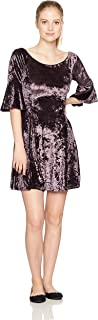 Angie Women's Purple Crushed Velvet Skater Dress with 1/2 Bell Sleeves