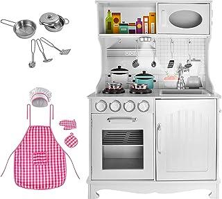 MALATEC Cocina de Madera Hecho de Madera Blanca Pequeño Chef Accesorios Conjunto para niños Juguete Infantil Diversión Regalo Divertido 4581