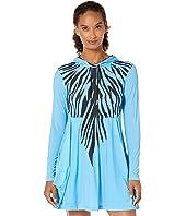 Sunsense® 50 UVP Zebra Print Long Sleeve Hooded Dress