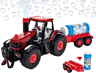 Bubble Farm Tractor Truck Toy Bump & Go Bubble Blowing Tractor Truck Carrying Trailer Battery Operated w/ Music and Flashi...