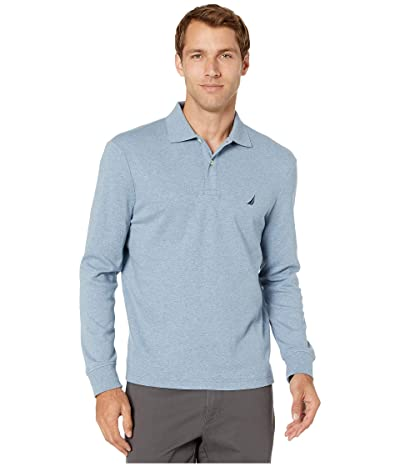 Nautica Long Sleeve Interlock Knit Polo (Navy Heather) Men