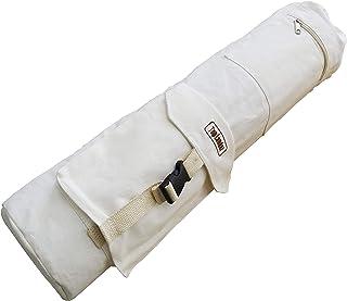 Bolsa para Esterilla de Yoga Blanco Algodón, Buen Portador para su Esterilla, con un Cordón y Dos Grandes Bolsillos de Almacenamiento, Tanto para Mujeres y Hombres
