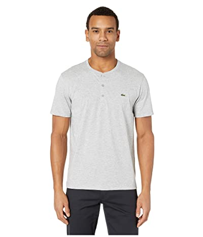 Lacoste Short Sleeve Regular Fit Pima Henley (Silver Chine) Men