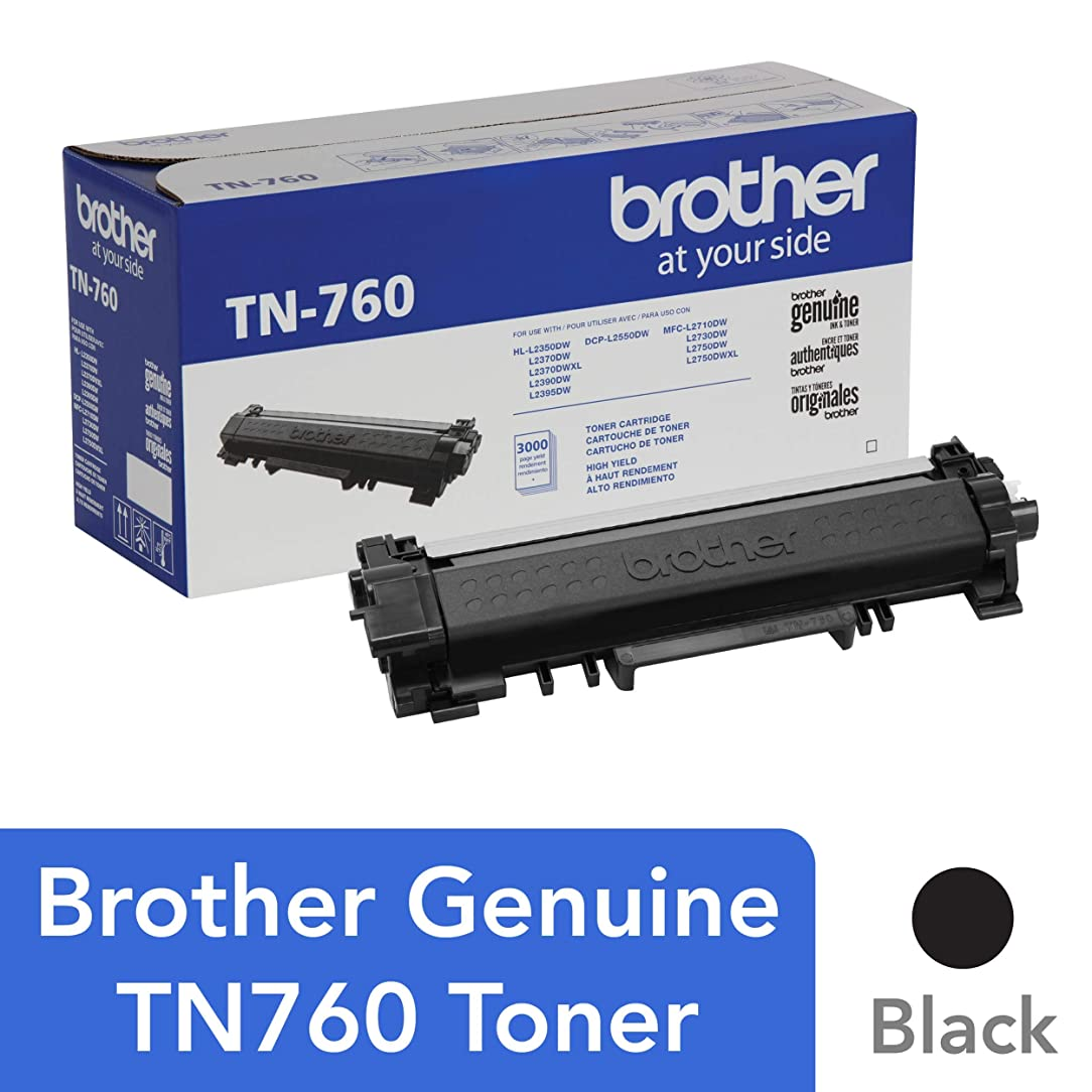 Brother Genuine High Yield Toner Cartridge, TN760, Replacement Black Toner, Page Yield Up To 3,000 Pages, Amazon Dash Replenishment Cartridge