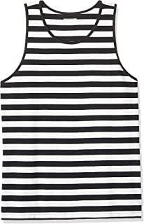 Amazon Essentials Men's Regular-fit Tank Top, Black/White, Medium