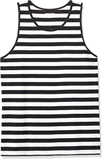 Amazon Essentials Men's Regular-fit Tank Top, Black/White, Large