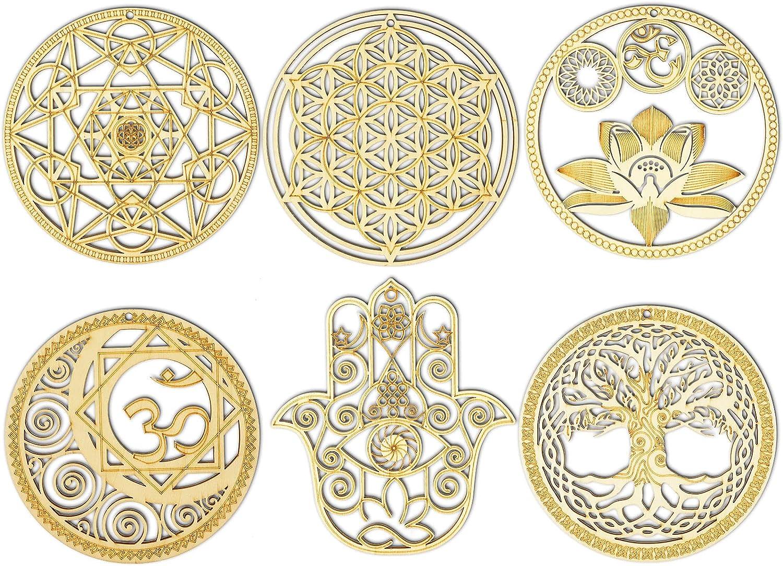 6 Pieces Sacred Geometry Wall Art Metatrons Cube Wall Decor Sacred Lotus Wall Decor Crystal Grid Wooden Art Symbol Meditation Decor Spiritual Decor with 2 Pendants for Home Garden Decoration