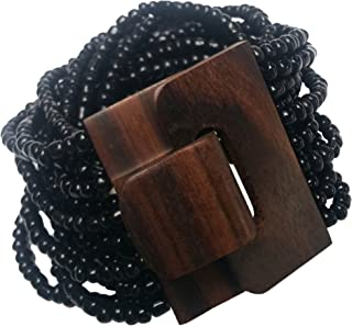 "14 Strand Elastic Black Beaded Bali Bracelet With Hard Wood Buckle Clasp - 2"" Wide"