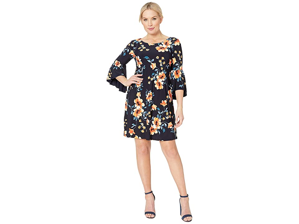 LAUREN Ralph Lauren B792 Petluma Floral Tycenda 3/4 Sleeve Day Dress (Lighthouse Navy/Orange/Multi) Women
