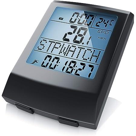 Fahrradcomputer kabellos - Fahrradtacho - Radcomputer - Tachometer - 13 Funktionen - Temperaturanzeige in °C - Hintergrundbeleuchtung