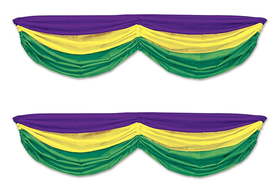 Beistle S50948-GGPAZ2 Mardi Gras Fabric Bunting, Green/Gold/Purple