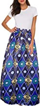Afibi Women African Printed Casual Maxi Skirt Flared Skirt Multisize A Line Skirt S-3XL