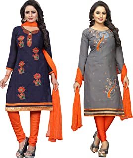 Samarth Enterprise Women's Straight Blue And Grey Dress Material (Pack of 2) (Unstitched)
