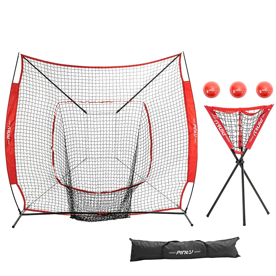 Pinty Baseball and Softball Practice Net 7'×7' Portable Hitting Batting Training Net with Carry Bag & Metal Frame + Ball Caddy + Weighted Training Balls