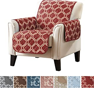 Adalyn Collection Deluxe Reversible Quilted Furniture Protector. Beautiful Print on One Side / Solid Color on the Other for Two Fresh Looks. By Home Fashion Designs Brand. (Chair, Lattice red)