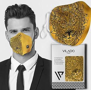 Vilado Reusable Fashion Face Mask With Elastic Ear Loops & Silicon Clips (Simba)