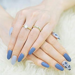 Moonique 24 uñas de prensa mate   cubierta completa media ovalada azul leopardo uñas postizas para mujer